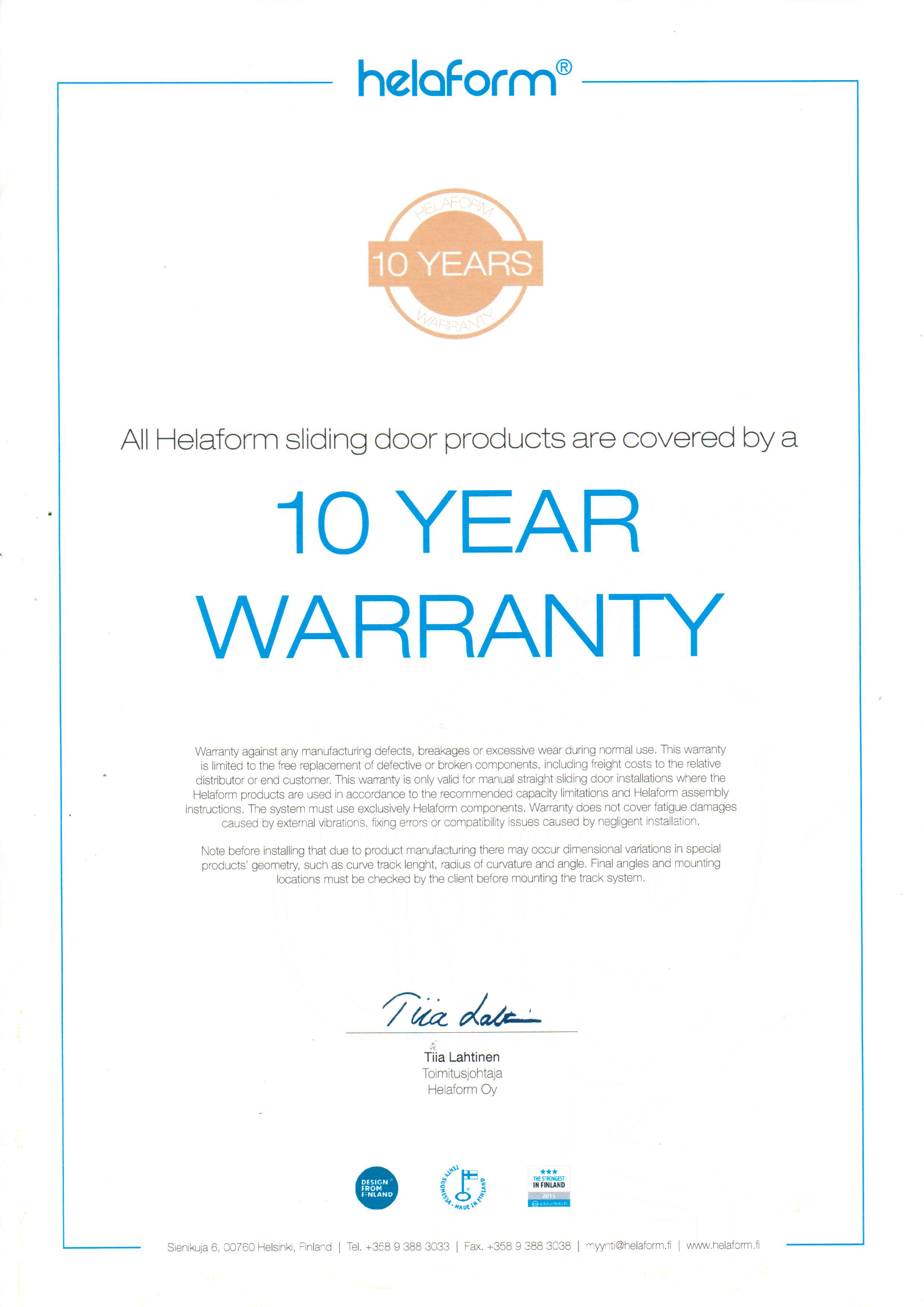 Helaform warranty